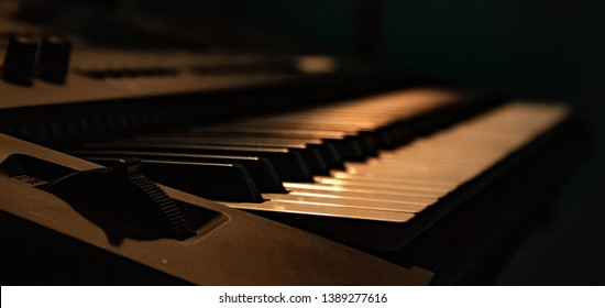An interesting perspective of a piano.