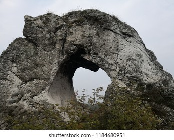 Interesting rock form in the mountains shaped like a heart. Rocky mountains hiking outdoors in the nature.