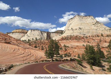 Interesting rock formations along the Zion-Mount Carmel Highway in the eastern part of Zion National Park, Utah