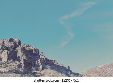 Interesting rock formations atop a mountain.