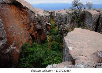 Interesting rock formations making a canyon in Torotoro National Park, near Potosi, Bolivia