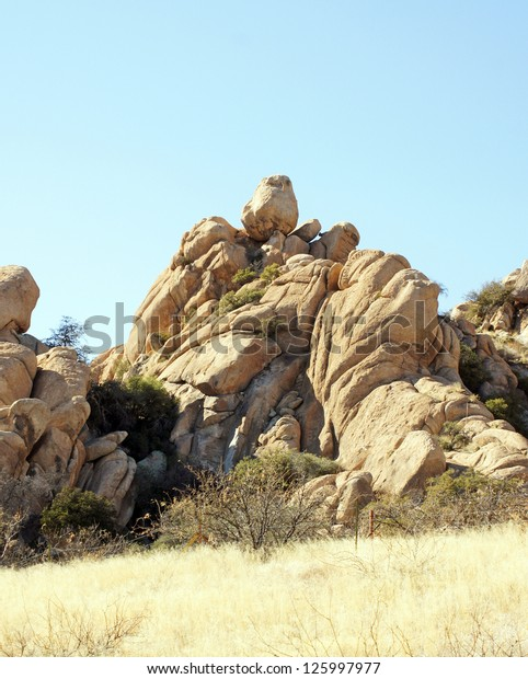 Interesting Rock Formations Texas Canyon Cochise Stock Photo