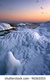 The interesting structure of the sea ice of the winter on the coast of the sea.