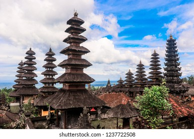 Interesting View to the Amazing Roofs of the Besakih Temple, Bali, Indonesia