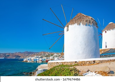 Interesting view point of the famous Little Venice area a landmark of Mykonos island in Greece