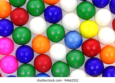 Interesting view of a single layer of bubble gum balls.