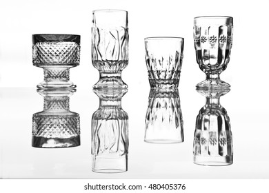 The interesting vintage glasses with a reflection in glass.