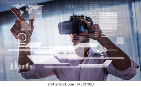 interface against businessman using an oculus