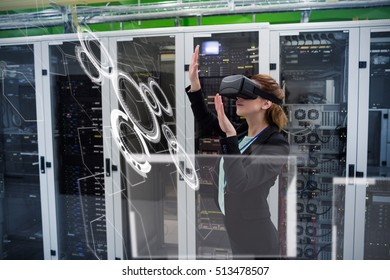 interface against side view of technician using virtual reality headset