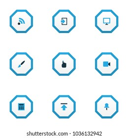 Interface icons colored set with feed, video, brush and other upload elements. Isolated  illustration interface icons.