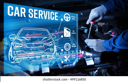 Interface of modern car diagnostic program on engine background. Car service concept.