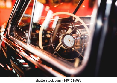 Interioir and window of classic soviet car, Zim. Russia, Kamensk-Shakhtinsky. August 2019.