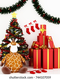 The interior 3d rendering gift space with Christmas beautiful pop decoration