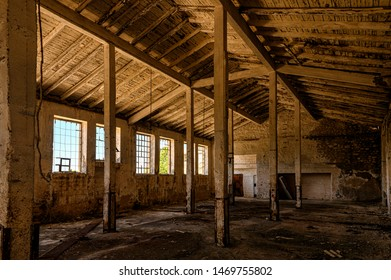 Interior of an abandoned building on Goli otok (Naked Island), a political prison island in ex Yugoslavia.