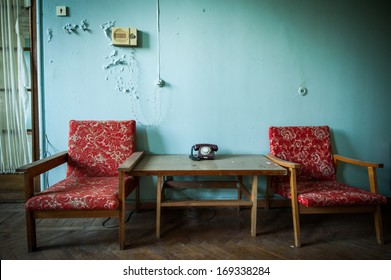 interior of abandoned buildings from the time of the Soviet Union