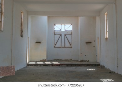Interior of Abandoned church in the Namibe Desert. Angola, Church of the Portuguese colonial time.