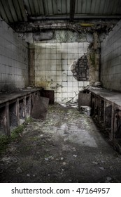 The interior of an abandoned factory, grunge scene