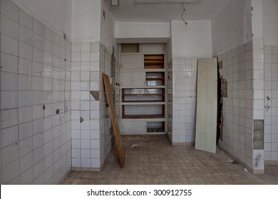 The interior of an abandoned hospital building