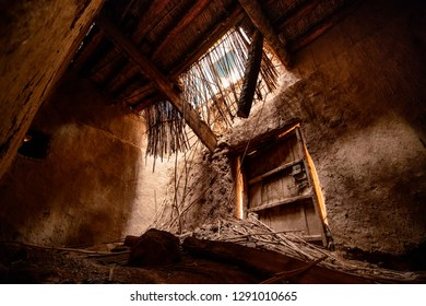 Interior of an abandoned kasbah, a traditional berber house in Morocco