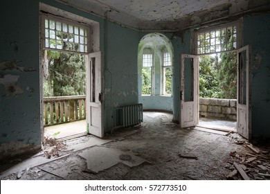 Interior of abandoned mansion in Gagra, Abkhazia