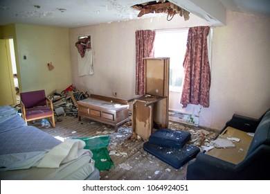 Interior of an abandoned motel in Niagara Falls, Canada