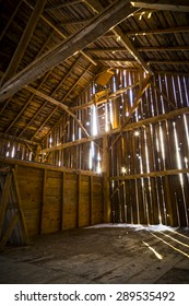 Interior of an Abandoned Rustic Old Barn