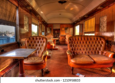 the interior of an abandoned train