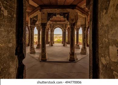 Interior of Agra Fort Diwan I Am (Hall of Public Audience),was biult in 11th century, Uttar Pradesh, India