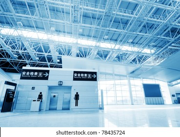 Interior of the airport in pudong shanghai china.