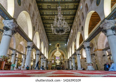 The interior  of Al Aqsa Mosque at Aqsa Complex near the dome of the rock in the Old City of Jerusalem in israel palestine 22 october 2018
