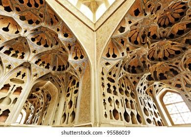 Interior of Ali Qapu at Naqsh-e Jahan Square in Isfahan, Iran.
