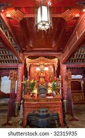 Interior altar of the Temple of Literature in Hanoi, Vietnam, featuring Chinese philosopher Confucius.