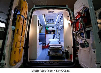 Interior of an ambulance, Bangkok Thailand : October 12 2012
