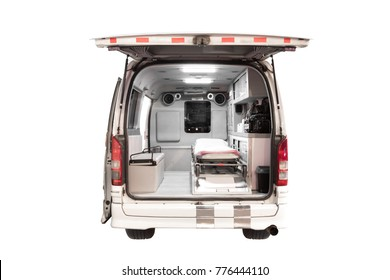 Interior of an ambulance emergency medical service.isolated on white background with clipping path