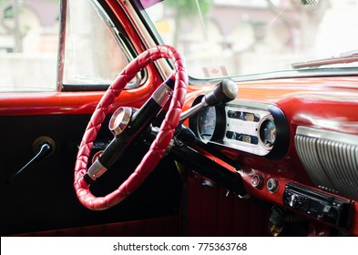 Interior of an American oldtimer in Havana, Cuba