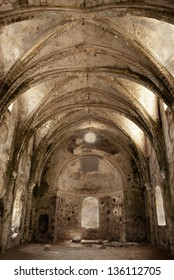 interior of ancient church in ruins in abandoned village Kayakoy, Turkey