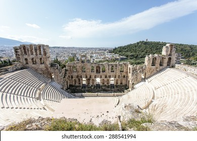 Interior Of The Ancient Greek Theater Odeon Herodes Atticus In Athens Greece Europe