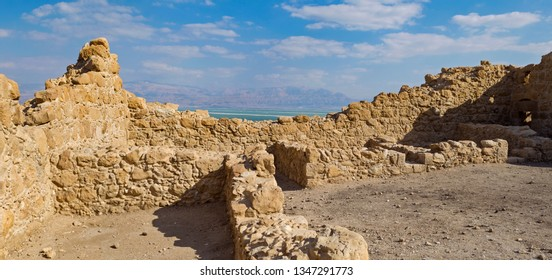 interior of the ancient roman fort located above the resort town of ein bokek in israel with the dead sea and jordanian mountains in the background