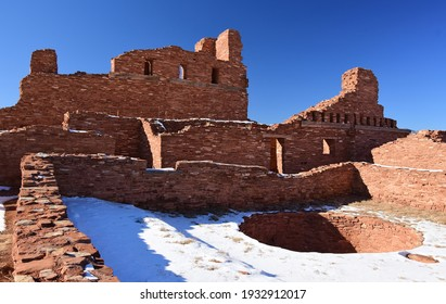 the interior of the ancient san gregorio de abo ruins in the salinas pueblo missions national monument on a sunny winter day near mountainair, new mexico