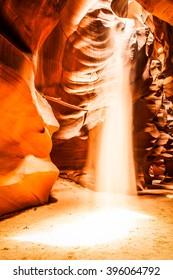 Interior of Antelope Canyon, woderful orange waves made of stone