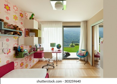 interior of apartment, children room with many toys