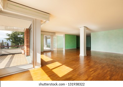 Interior, apartment empty in style classic, large room