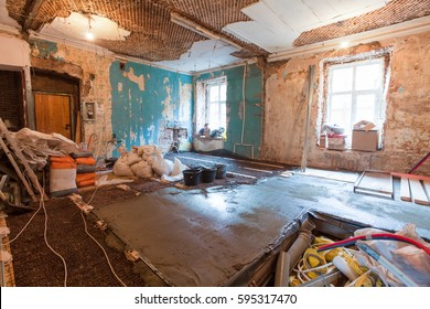 Amazing Interior Of Apartment With Materials During On The Renovation And  Construction ( Remodel Wall From Gypsum