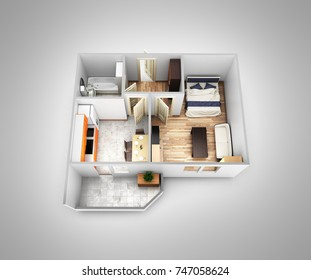 Interior Apartment Roofless Top View Apartment Layout On Grey Gradient  Background 3d Render