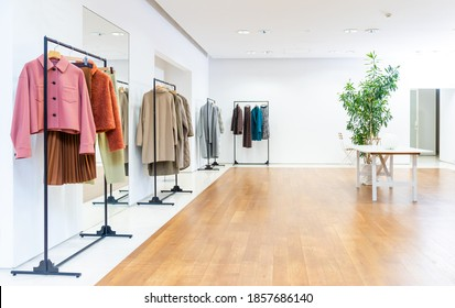 Interior of apparel store. Clothing store.