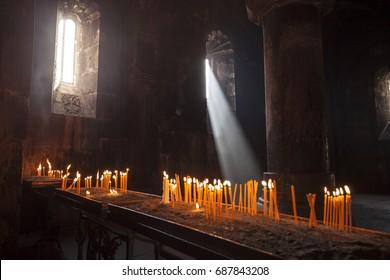 Interior of Armenian church. Light coming inside the Armenian apostolic church. Holly Christian place.