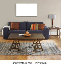 Interior artwork mock up living room with colorful sofa