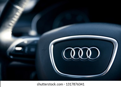 Interior of an Audi A6 car with board and steering wheel, Modern car interior details. 15th February, 2019 St. Neots, UK.