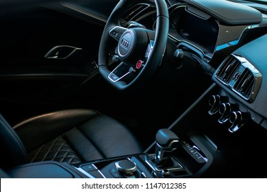interior of an Audi R8 car. 27.06.2018, Ludwigsburg, Germany