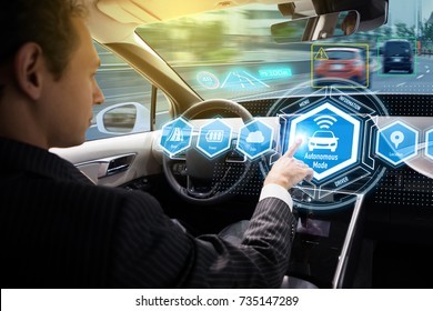 Interior of autonomous car. Self driving vehicle. Driverless car.